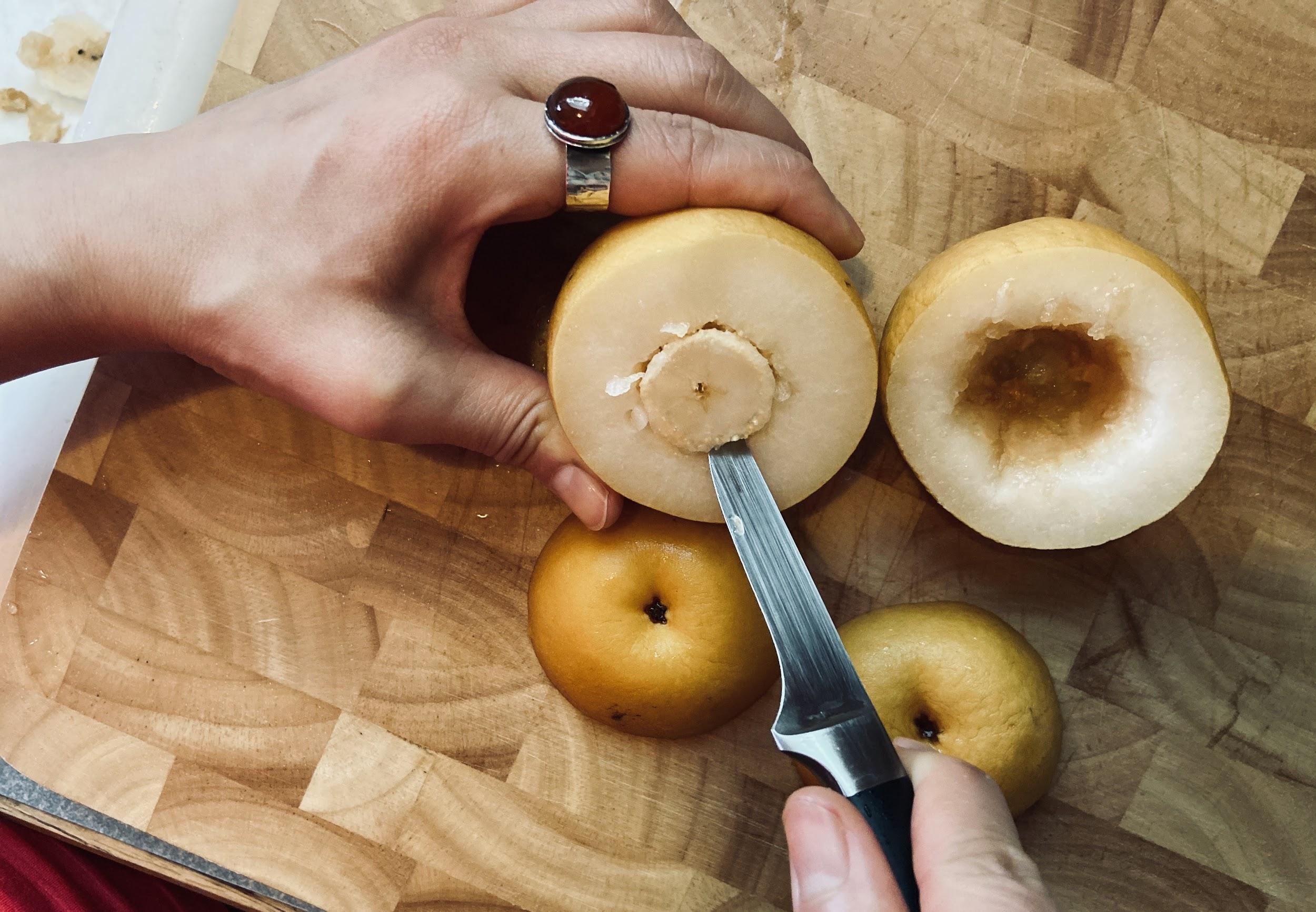 cut asian pears