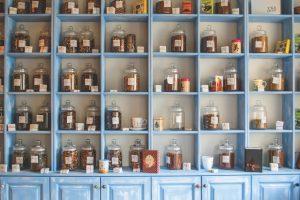 blue shelf with herbs